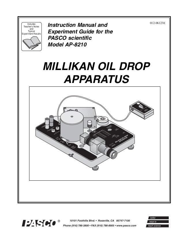 (Ap 8210) millikans oil drop manual