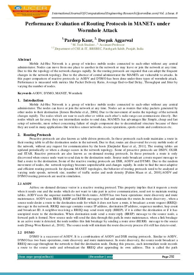 I nternational Journal Of Computational Engineering Research (ijceronline.com) Vol. 2 Issue. 8     Performance Evaluation ...