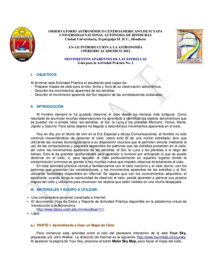 OBSERVATORIO ASTRONÓMICO CENTROAMERICANO DE SUYAPA                  UNIVERSIDAD NACIONAL AUTÓNOMA DE HONDURAS             ...