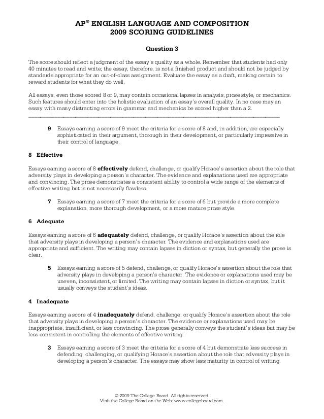 ap english language and composition essay scoring rubric Generic ap lang rubric rhetorical analysis  writing 3 essays earning a score of 3 meet the criteria for a score of 4 but demonstrate less success in ana-lyzing [author's] use of rhetorical strategies to [present message to audience]  plistic in their explanation or weak in their control of language.