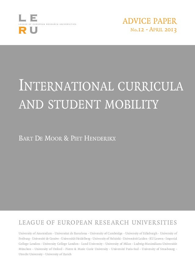 International curricula and student mobility