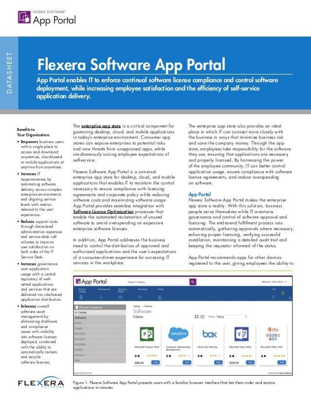 データシート Flexera Software App Portal エンタープライズアプリストアを通じて、オンデマンドのソフトウェアプロビジョニン グによりユーザーの能力を高めると共に、IT 部門のソフトウェア資産管理を強化 組織にとっての利...