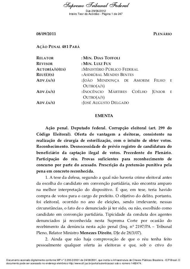 Supremo Tribunal Federal    Ementa e Acórdão                                                                   DJe 29/06/2...