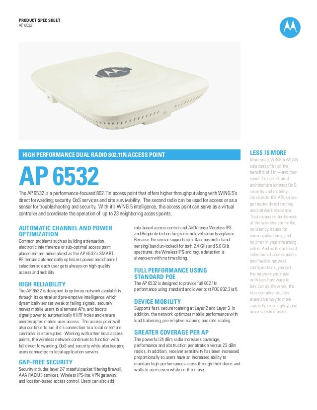 PRODUCT SPEC SHEET AP 6532  HIGH PERFORMANCE DUAL RADIO 802.11N ACCESS POINT  AP 6532  The AP 6532 is a performance-focuse...