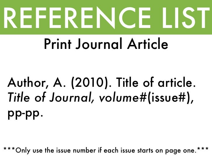 Apa referencing journal article