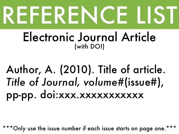 Apa electronic journal