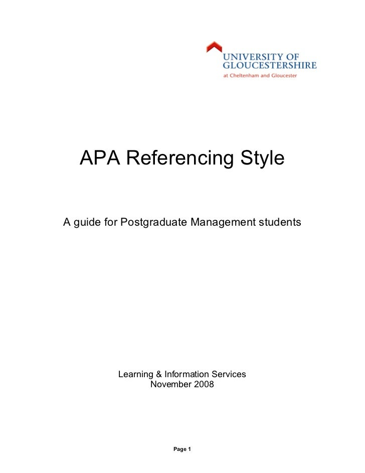APA Referencing StyleA guide for Postgraduate Management students          Learning & Information Services                ...