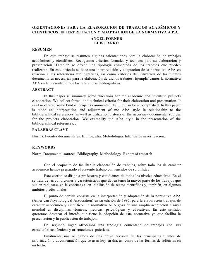 ORIENTACIONES PARA LA ELABORACION DE TRABAJOS ACADÉMICOS YCIENTÍFICOS: INTERPRETACION Y ADAPTACION DE LA NORMATIVA A.P.A. ...