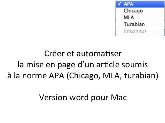 Créer  et  automa+ser     la  mise  en  page  d'un  ar+cle  soumis     à  la  norme  APA  ...