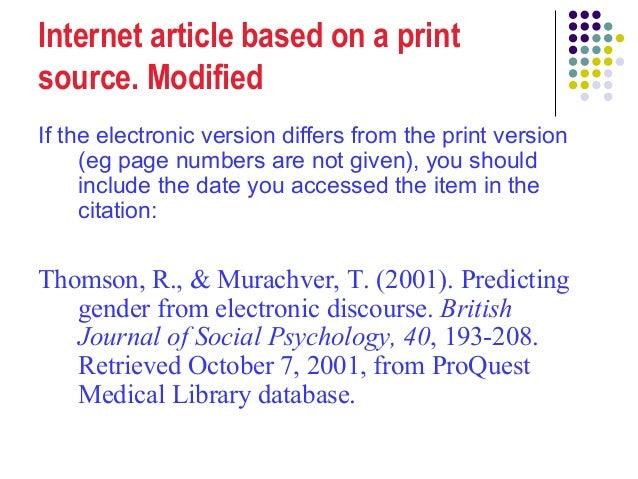 Apa internet article