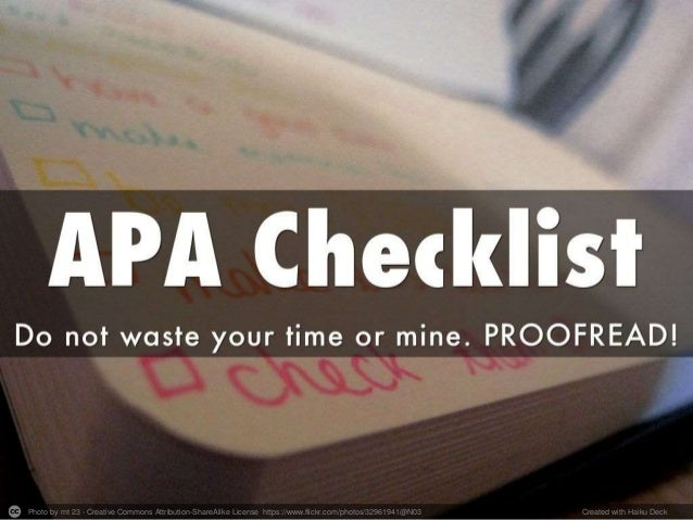 School of Ed APA Checklist