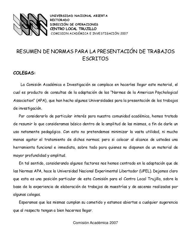 UNIVERSIDAD NACIONAL ABIERTARECTORADODIRECCIÓN DE OPERACIONESCENTRO LOCAL TRUJILLOCOMISION ACADÉMICA E INVESTIGACIÓN 2007R...