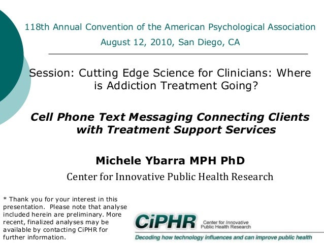 118th Annual Convention of the American Psychological Association August 12, 2010, San Diego, CA  Session: Cutting Edge Sc...