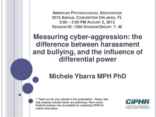 Measuring cyber-aggression: the difference between harassment and bullying, and the influence of differential power