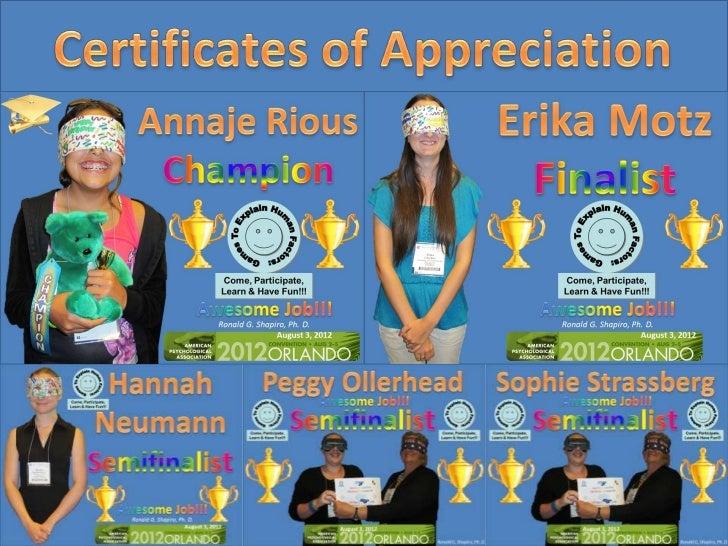 Games To Explain Human Factors: Come, Participate, Learn & Have Fun!!!Champion Annaje Rious,Finalist Erika Motz,Semifinali...