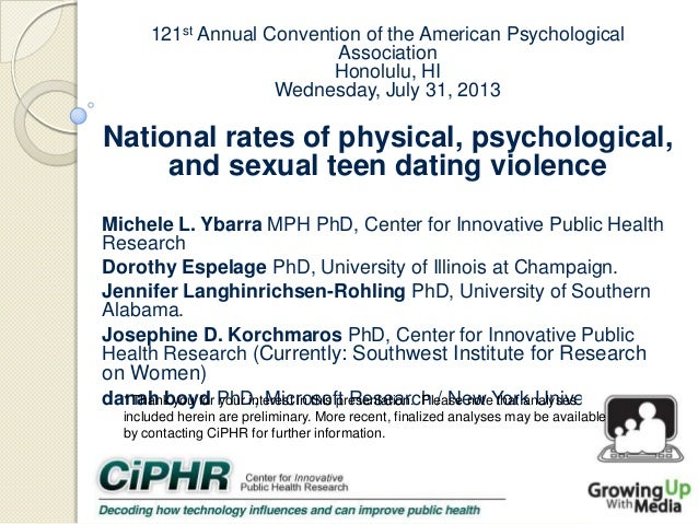 121st Annual Convention of the American Psychological Association Honolulu, HI Wednesday, July 31, 2013  National rates of...