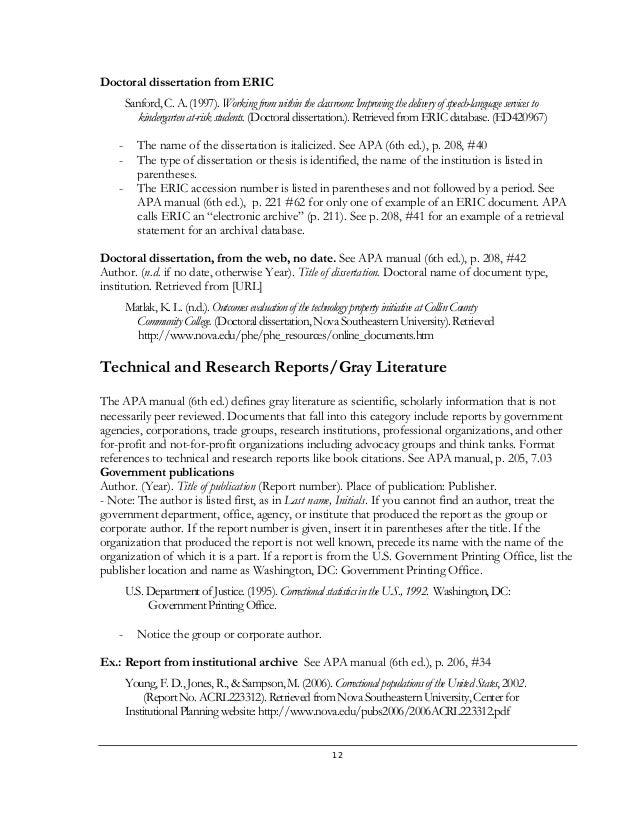 apa style unpublished dissertation citation