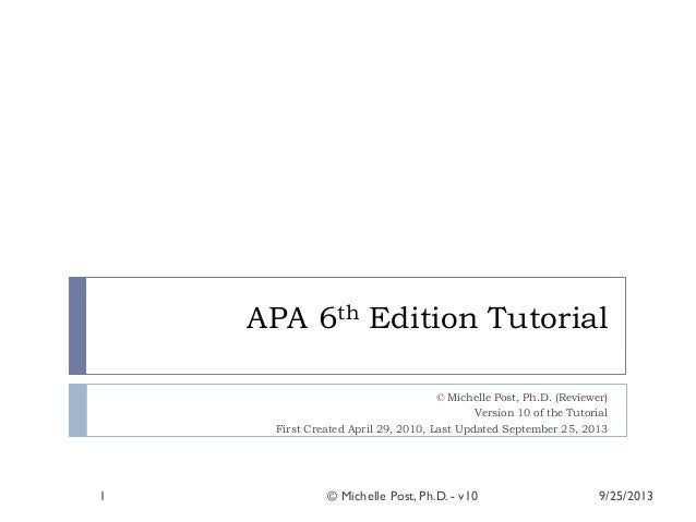 apa version 6 template apa 6th ed tutorial v10