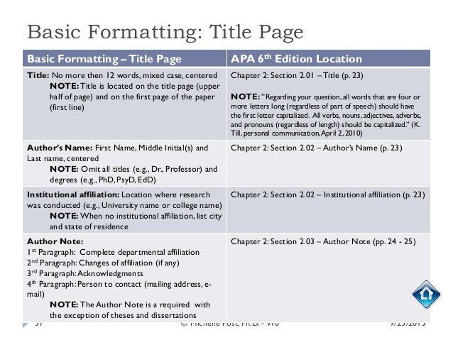 apa 6 dissertation headings