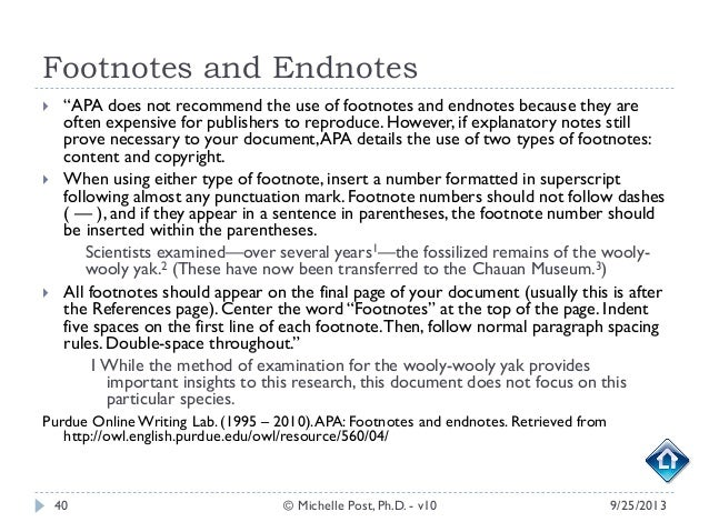 footnotes endnotes apa
