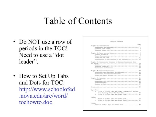 apa 6 dissertation table of contents