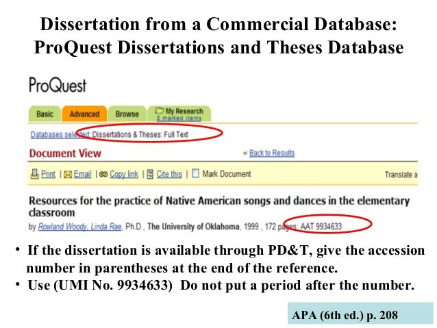 Dissertations and ProQuest