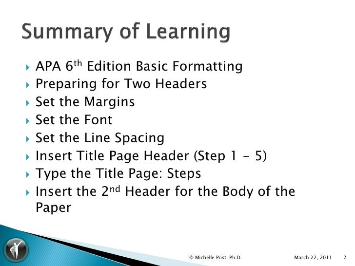 what is apa 6th edition format