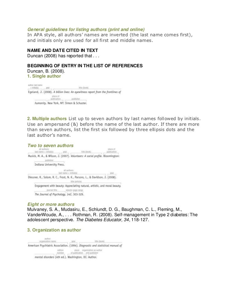 General guidelines for listing authors (print and online)In APA style, all authors' names are inverted (the last name come...