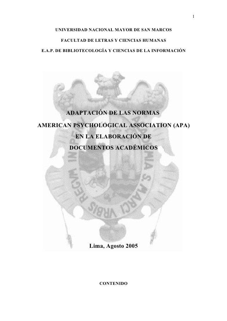 1        UNIVERSIDAD NACIONAL MAYOR DE SAN MARCOS          FACULTAD DE LETRAS Y CIENCIAS HUMANAS   E.A.P. DE BIBLIOTECOLOG...