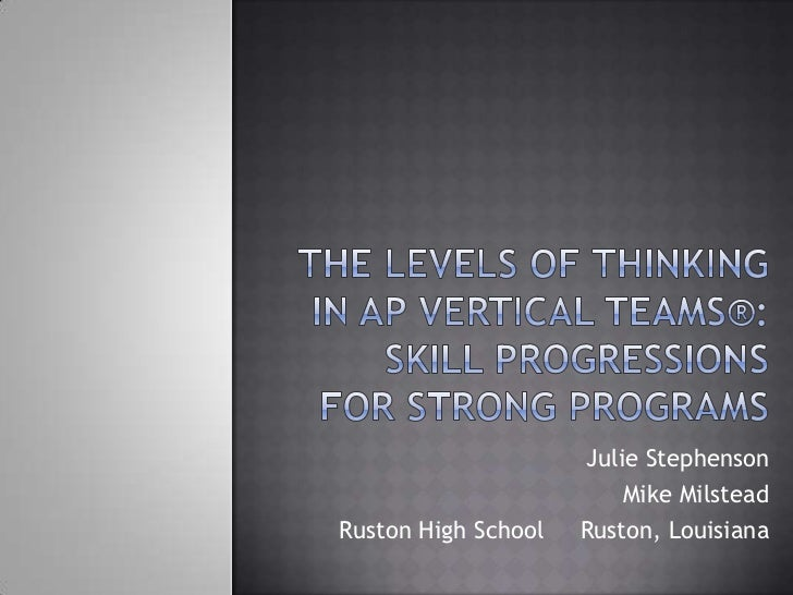 The Levels of Thinking in AP Vertical Teams®: Skill Progressions for Strong Programs<br />Julie Stephenson<br />Mike Milst...