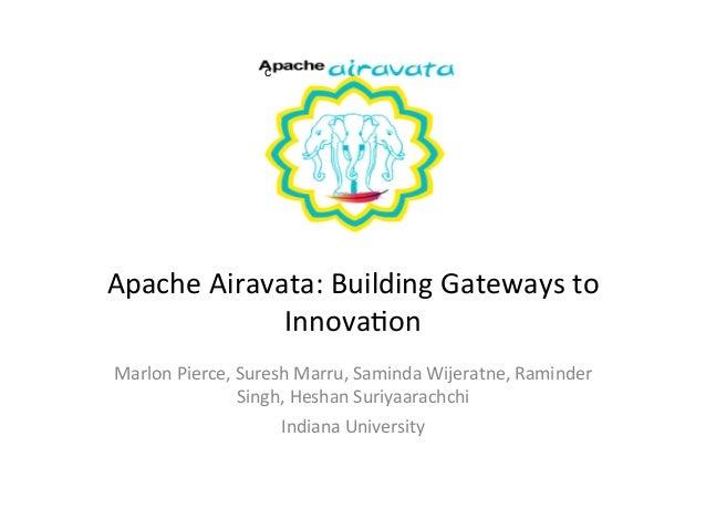 cApache Airavata: Building Gateways to                 Innova9on Marlon Pierce, Suresh Marru, Saminda...