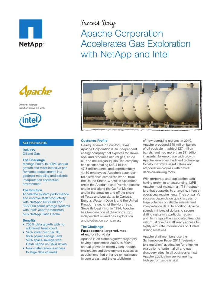 Apache Corporation Accelerates Gas Exploration with NetApp and Intel