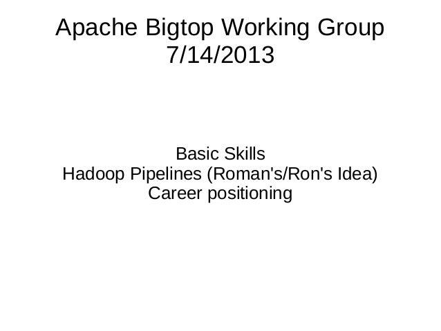 Apache Bigtop Working Group 7/14/2013 Basic Skills Hadoop Pipelines (Roman's/Ron's Idea) Career positioning