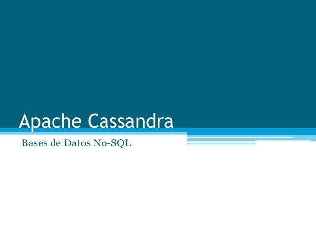 Apache CassandraBases de Datos No-SQL
