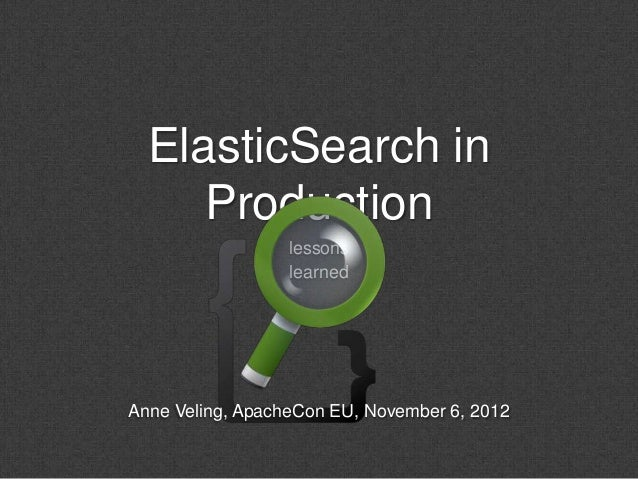ElasticSearch in     Production                  lessons                  learnedAnne Veling, ApacheCon EU, November 6, 2012