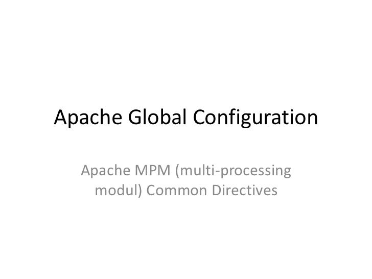 cPanel - Apache Global Configuration