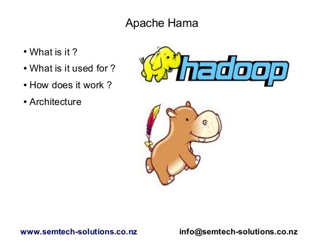 Apache Hama ● What is it ? ● What is it used for ? ● How does it work ? ● Architecture www.semtech-solutions.co.nz info@se...