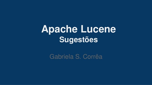 Apache Lucene - Suggestions