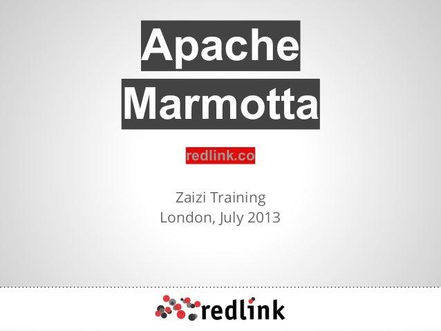 Zaizi Training London, July 2013 redlink.co Apache Marmotta