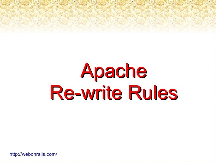 Apache Re-write Rules