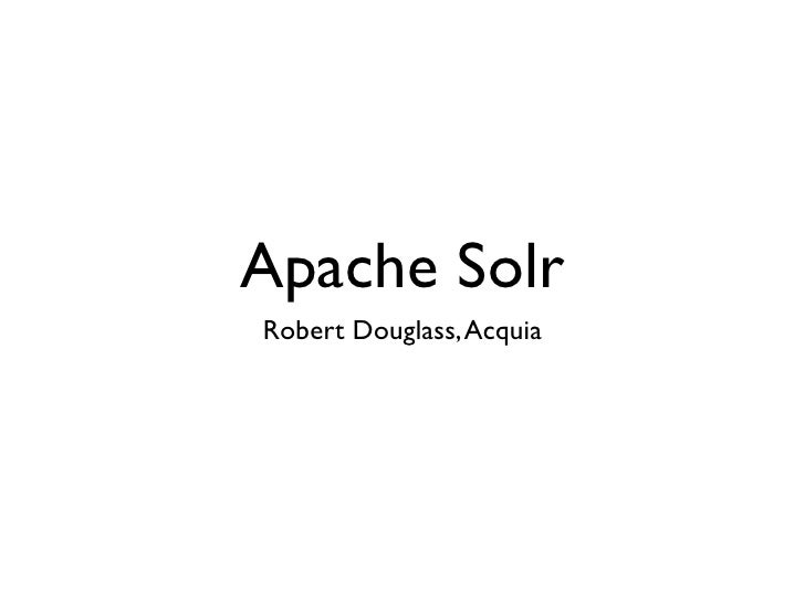 State-of-the-Art Drupal Search with Apache Solr