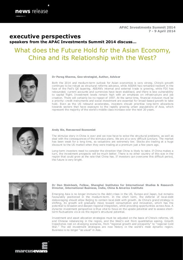 APAC Investments Summit 2014 7 - 9 April 2014  executive perspectives speakers from the APAC Investments Summit 2014 discu...