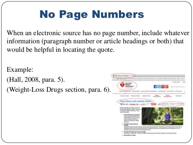 Apa in text citation no page number