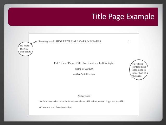apa title page sample