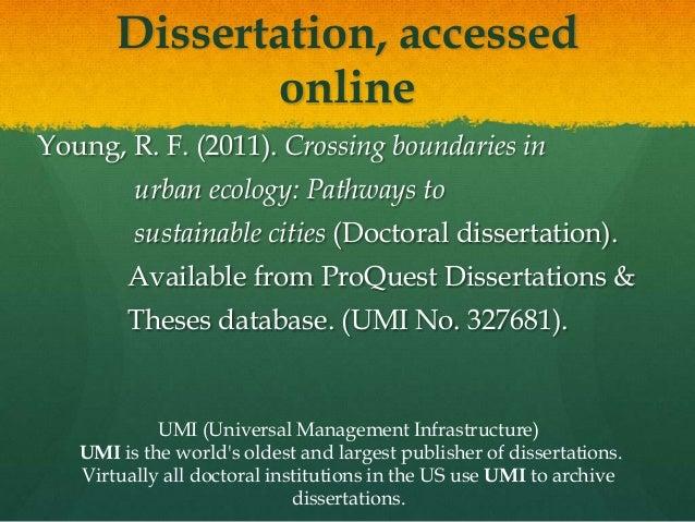 Dissertation services umi