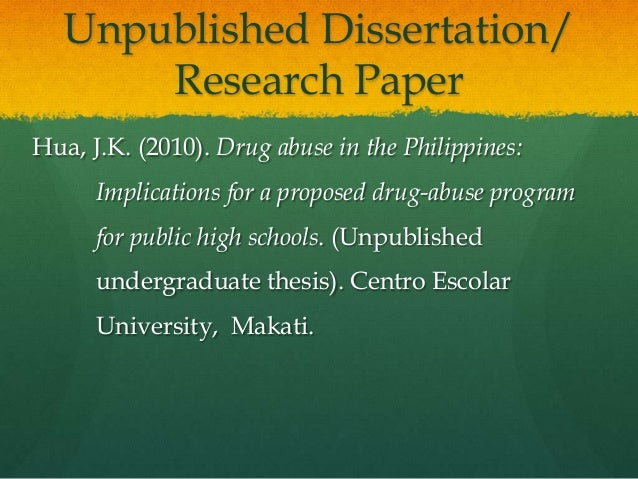 Apa reference unpublished master thesis pdf
