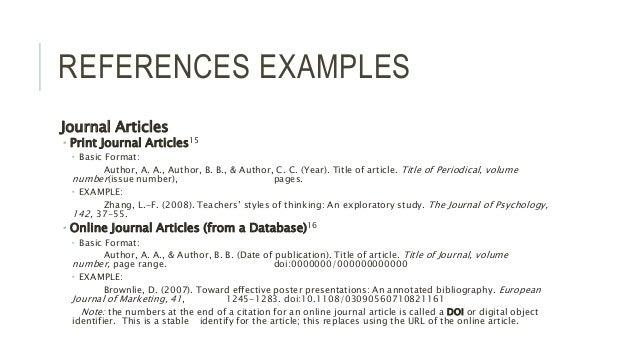 Apa citation of a journal