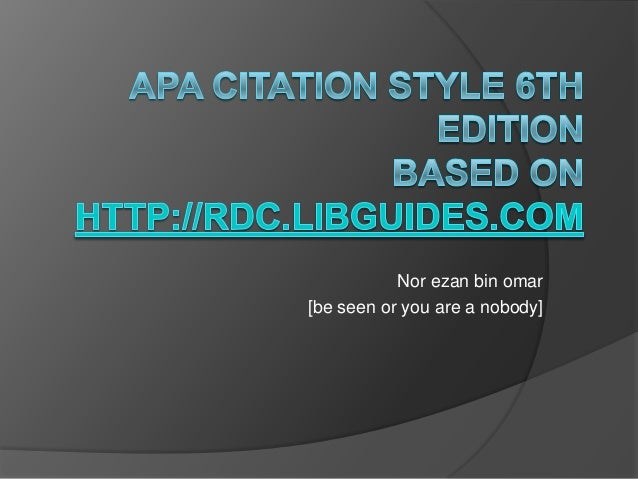 Apa citation style 6th edition