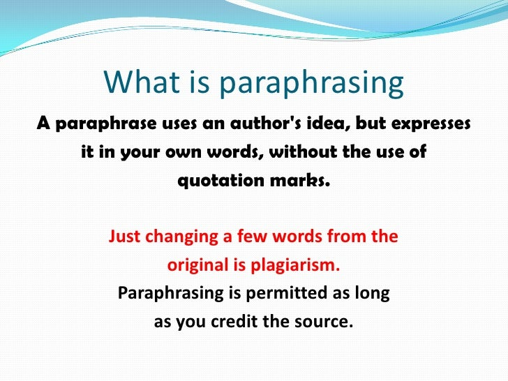 citing paraphrases in research papers There are many ways to cite a direct quotation see more examples here paraphrases a paraphrase restates someone else's words in a new way for example, you might put a sentence into your own words, or you might summarize what another author or set of authors found.