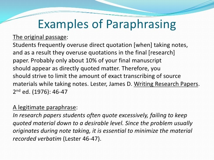 Paraphrase in text citation